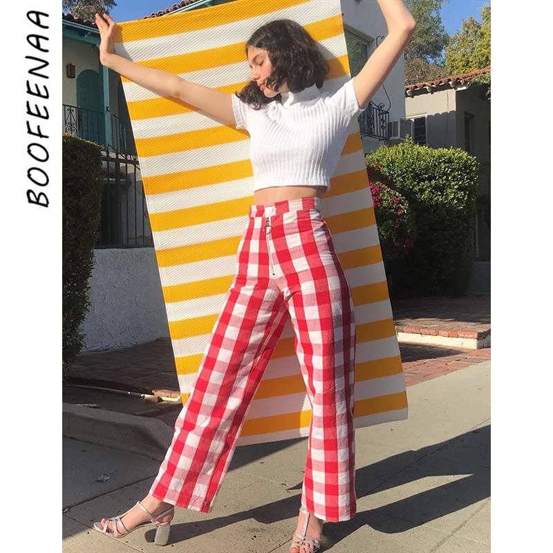 BOOFEENAA Plaid Print High Waist   Wide     Leg     Pants   Women Fall 2019 Fashion Vintage Casual Loose Checkered Trousers C76-AD96