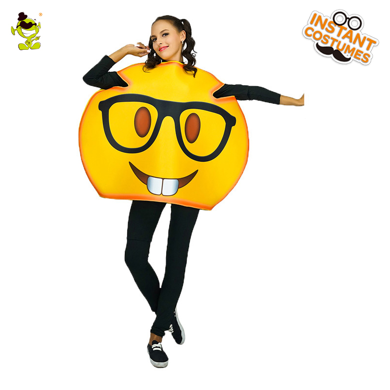 US $22 48 10% OFF|New Design Women Nerd Emoticon Costumes with Glasses  Print Unisex Adults Carnival Party Funny Bookworm Emoji Fancy Jumpsuit on