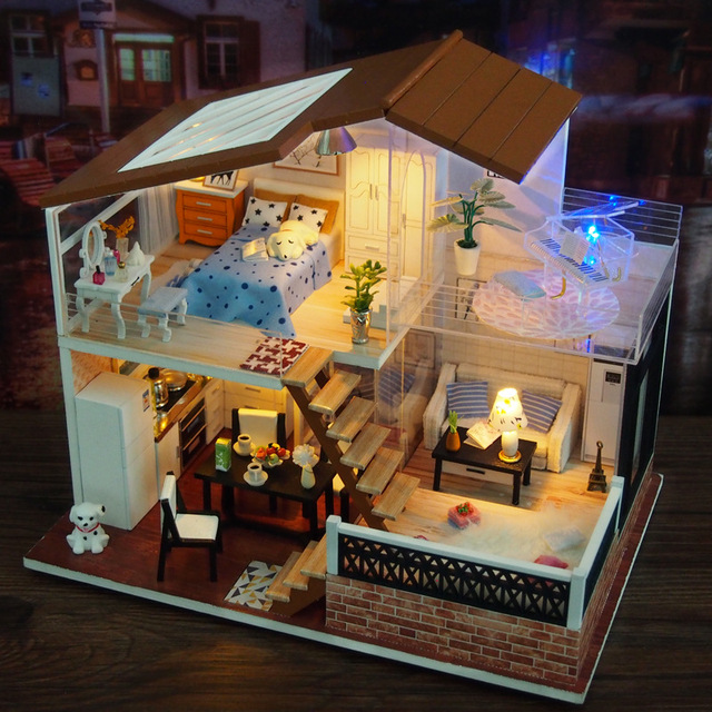 Miniature Villa Dollhouse With Led Lights And Glass Piano Furniture