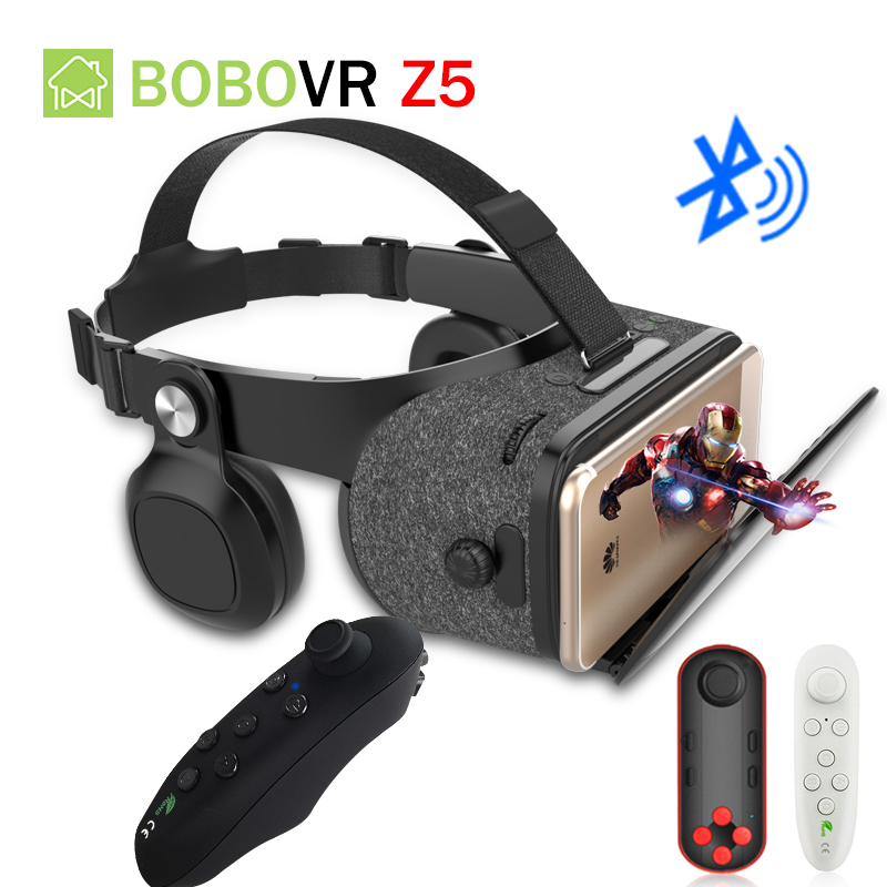 BOBOVR Z5 Update Bluetooth VR 120 FOV 3D Cardboard Helmet Virtual Reality Glasses Headset Stereo Box for 4.7-6.2'In Mobile Phone 2018 new version bobovr z5 youth virtual reality 3d vr glasses cardboard vr 3d headset box for android and ios smartphone 2 0