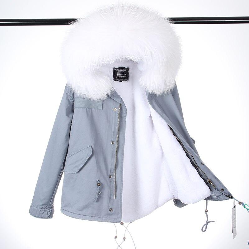 2018 Nouvelles Femmes De Mode D'hiver Rose Manteau De Fourrure Court Long En Fausse Fourrure Doublure Lady M. Style Réel Raton Laveur Col De Fourrure veste Top marque