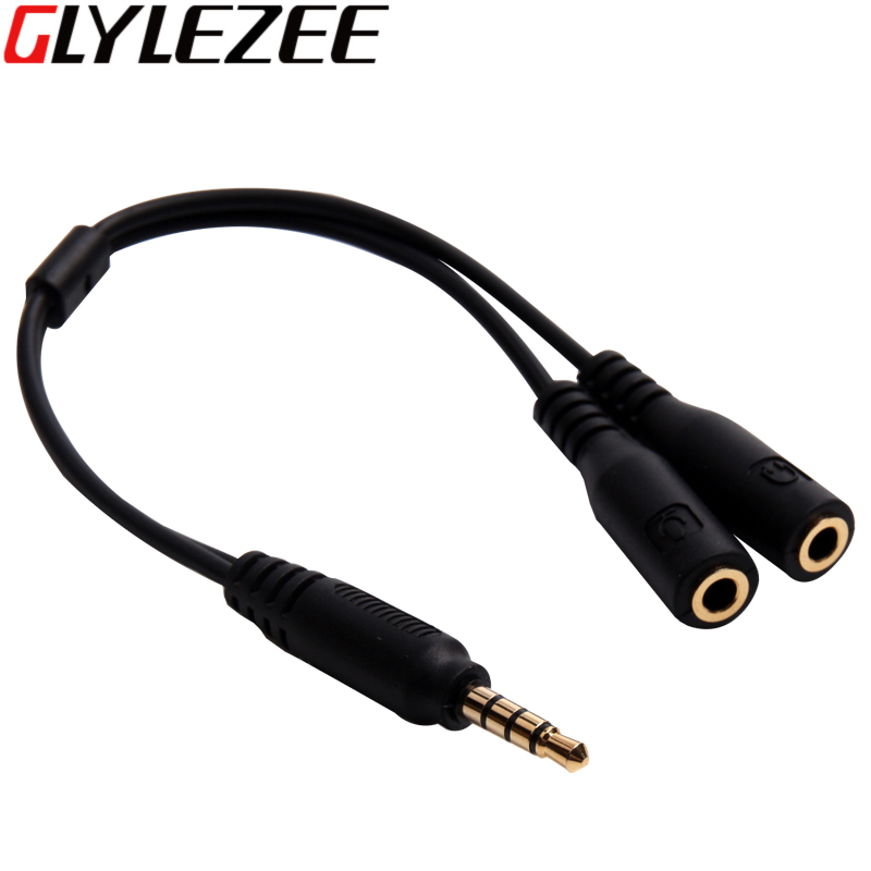 3.5mm Gold Plated Headphone Microphone Audio Splitter Cable 1 Male Plug to 2 Female Jacks Adapter Cable for Cellphone