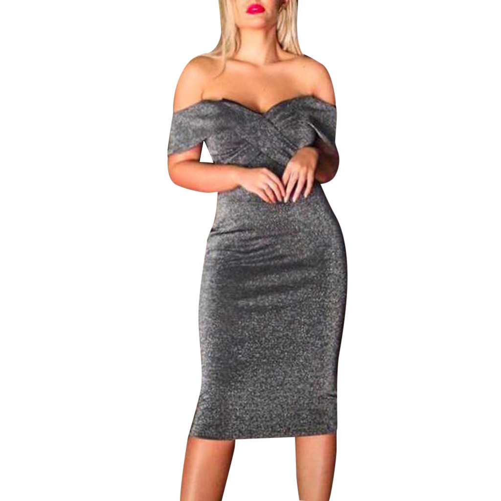 Sexy Women Off The Shoulder Short Sleeve Midi Dress Fashion Cocktail Prom Gown Bodycon Dress Pure Color Skinny Ladies Dress