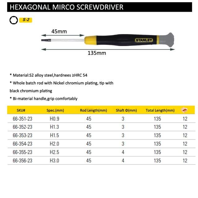 Stanley 6pcs best screwdriver set hex H0.9 H1.3 H1.5 H2 H2.5 H3 bit hexagon screw driver hexagonal head screwdriver precision 6