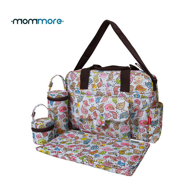 mommore 5pcs/set Nappy Bags Includes Diaper Bag Changing Pad Transparen Mummy Maternity Bag Waterproof Baby Stroller Bag