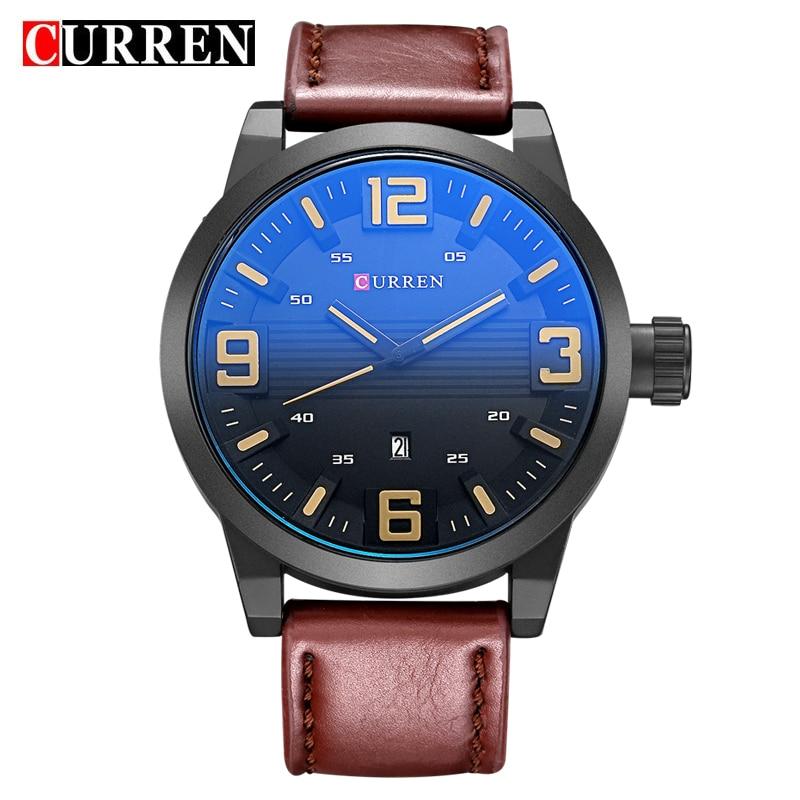 2017 CURREN Brand Men's Fashion Casual Sport Watches Men 3ATM Waterproof Leather Quartz Watch Analog Man Military Clock Gift