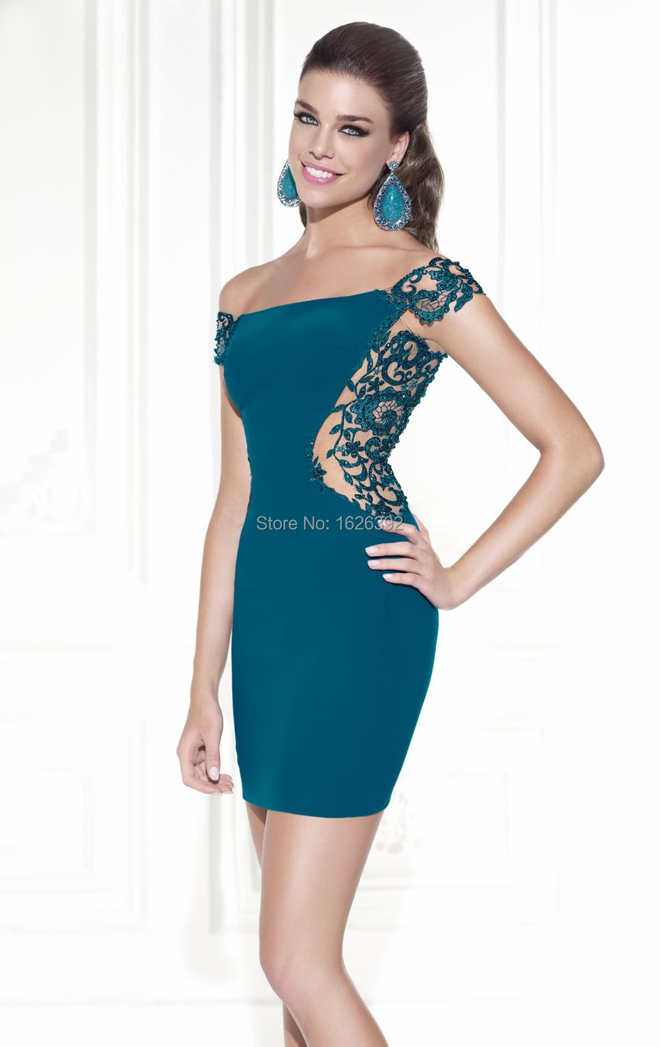 2017 Turquoise See Through Lace Fashion Short Cocktail Dresses Off ...