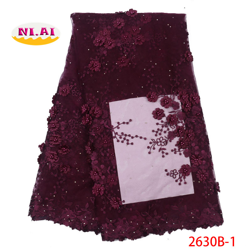 Deep Purple Lace Fabric Beads African Dress Latest Tulle Lace 2019 Fabric MR2630B