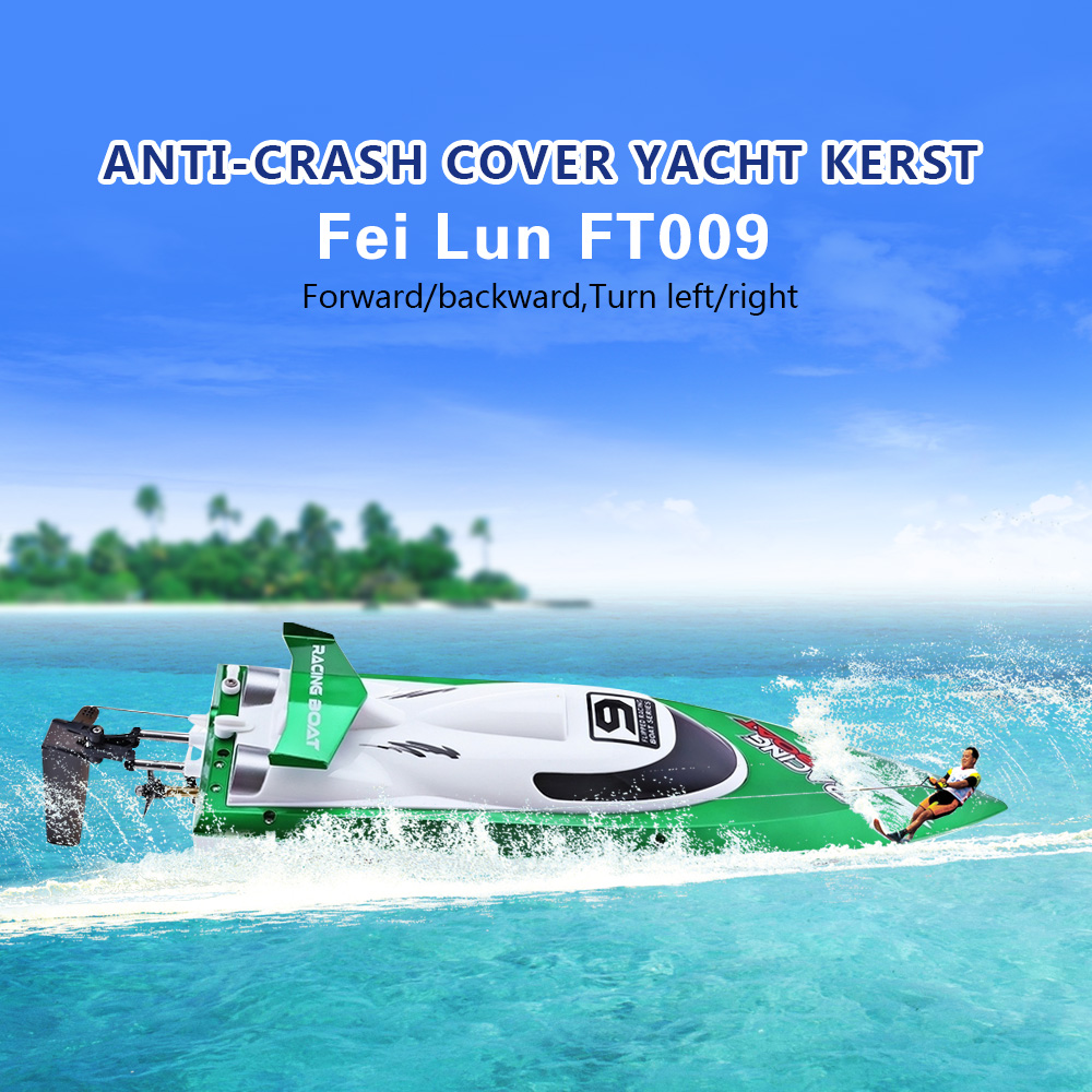 катер fei lun ft009 racing boat - New Arrival Fei Lun FT009 2.4G High Speed Remote Control Racing Boat 30km/h Anti-crash Cover Yacht Christmas Birthday Gift