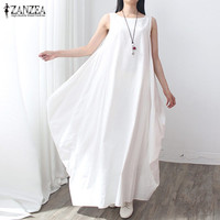 ZANZEA Brand Fashion 2016 Elegant Women Cotton Linen Dress Casual Loose Long Maxi Party Dresses Vestidos