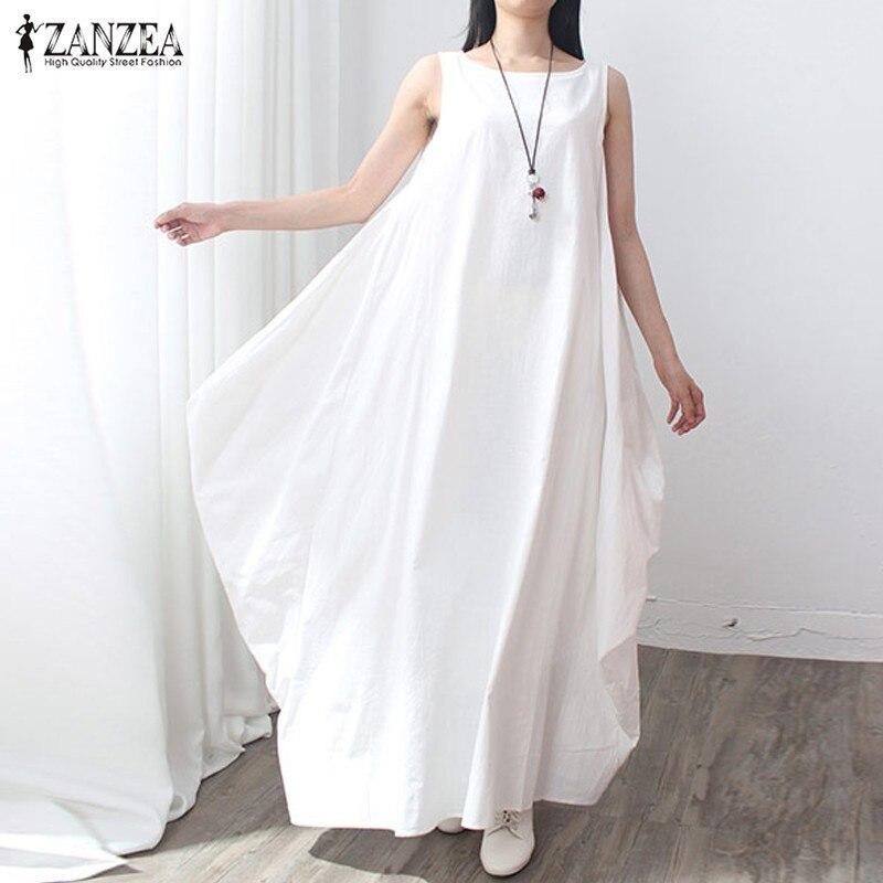 ZANZEA летнее платье 2019 для женщин без рукавов с круглым вырезом сексуальное из хлопка и льна длиной макси свободное платье ретро
