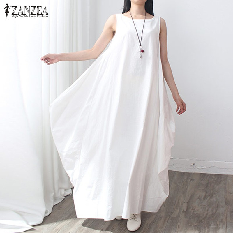 ZANZEA Summer Dress 2018 Women Sleeveless O Neck Sexy Dress Cotton Linen Long Maxi Dresses Casual