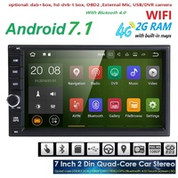 Android7.1 Car Radio 7inch 2din NODVD Capacitive Touch Screen High Definition 1024x600 GPS Navigation Bluetooth USB SD Player 4G
