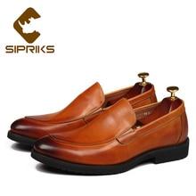 aab4780614611 Sipriks رجل topsiders الانزلاق على اللباس أحذية الشركة الرجال boss الرسمي  مساء أحذية العمل الأحذية الجلدية الناعمة بدون جلد الشق.