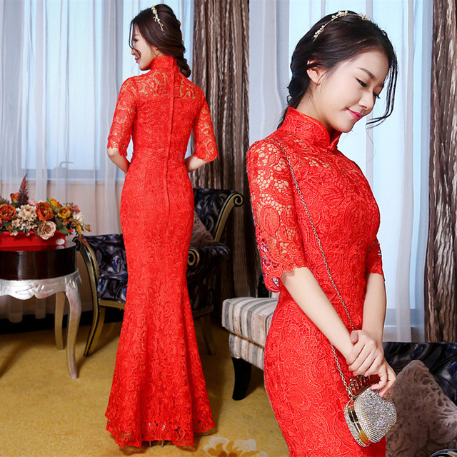 4e06c348c Qipao Red Lace Cheongsam Women Chinese Traditional Dress Female Wedding  Dress Vestido Oriental Qipao Evening Party Dress 89