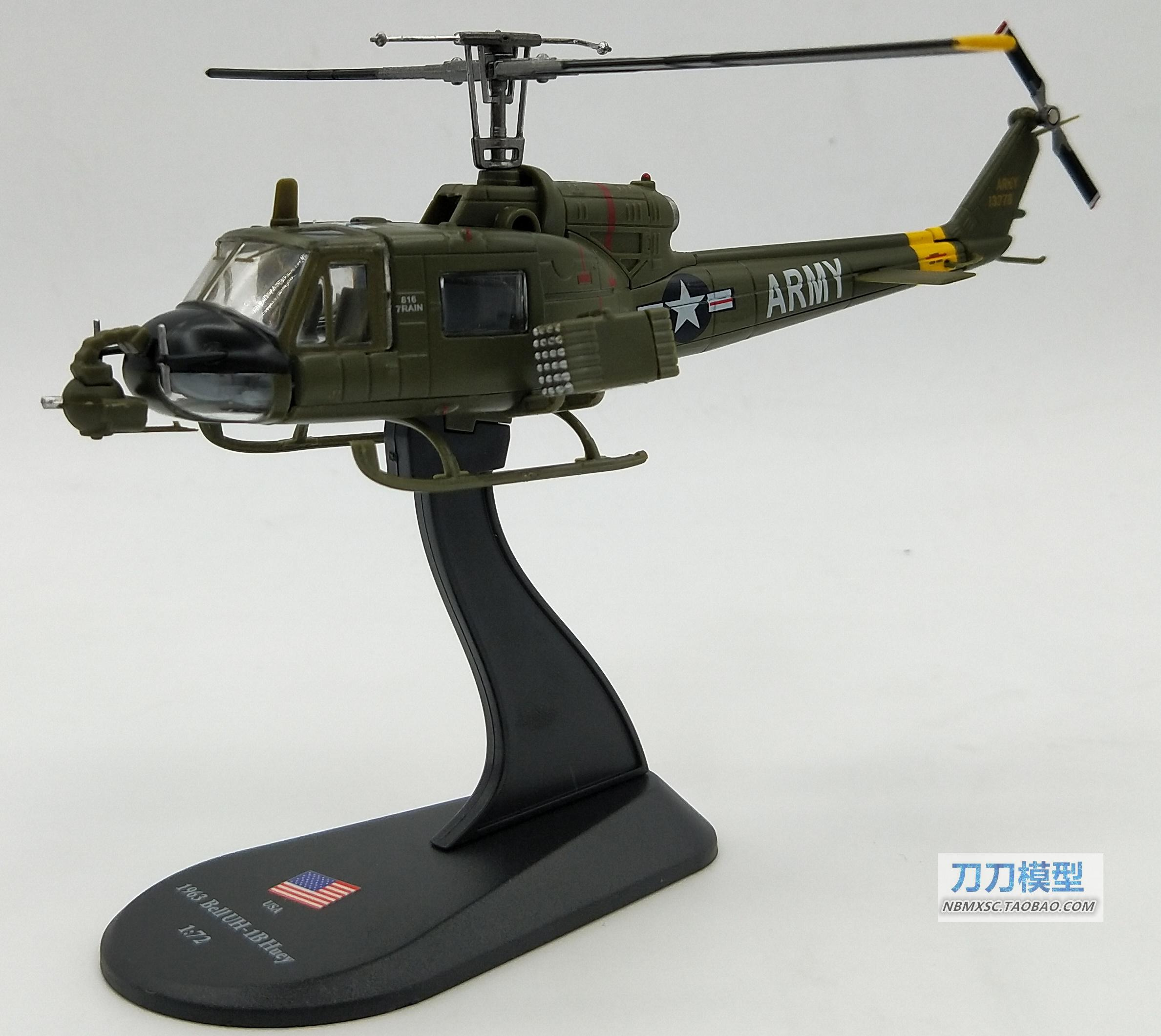 AMER 1/72 Scale Military Model Toys USA 1963 Bell UH-1B Huey Helicopter Diecast Metal Plane Model Toy For Gift/Collection