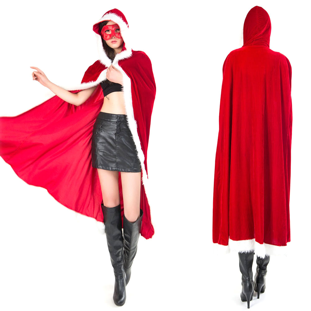 Adult Capes Women Cosplay Santa Claus Fancy Dress Cloak Cape Christmas Costume -MX8