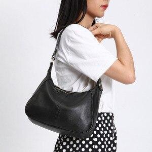 Image 2 - Zency 100% Genuine Leather Classic Black Women Shoulder Bag Fashion Crossbody Messenger Purse For Female High Quality Handbag