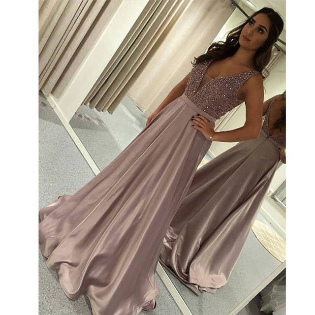 Ryanth Robe de soiree Formal Long Rose Pink Evening Dress 2019 Sparkly  Beaded Prom Gown Arabic Pageant Celebrity Dresses 082cfa87439d