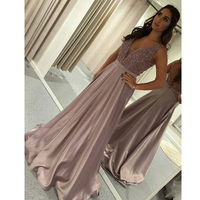 Ryanth Robe de soiree Formal Long Rose Pink Evening Dress 2019 Sparkly Beaded Prom Gown Arabic Pageant Celebrity Dresses