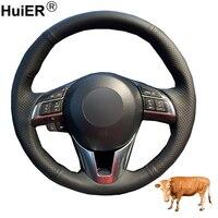 Hand Sewing Car Steering Wheel Cover Top Cow Leather Volant For Mazda 3 Axela Mazda 6 Atenza Mazda 2 CX 3 CX 5 Scion iA 2016