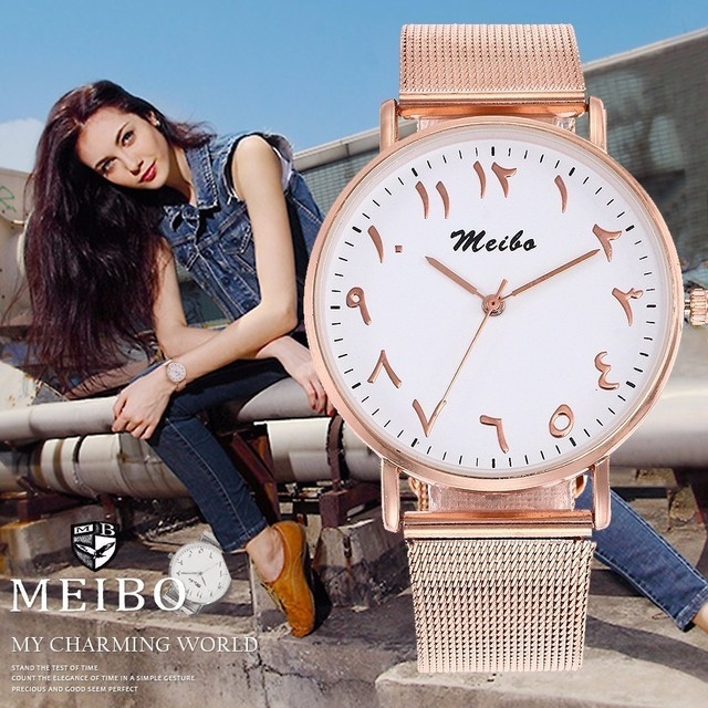 Fashion Unique Arabic Numbers Watches Stainless Steel Mesh Watch Casual Women Me