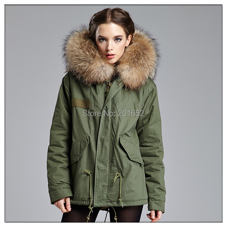 2015 winter jacket coat women's parkas army green Large raccoon fur collar hooded woman outwear mr mrs - Harve leger store