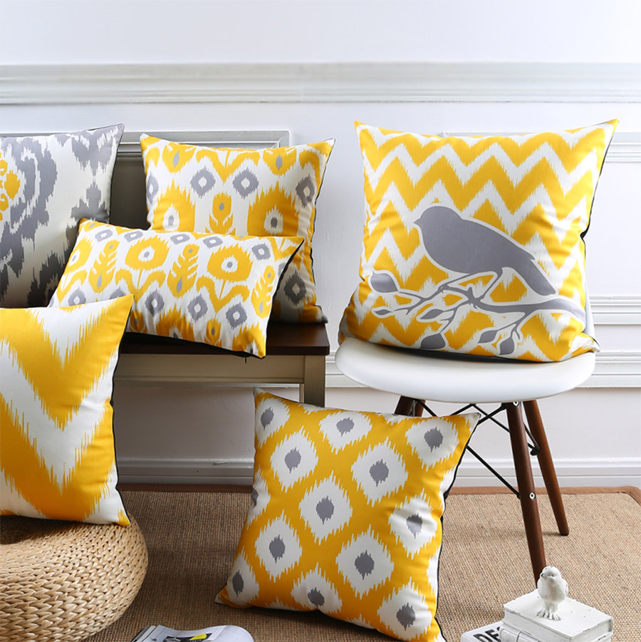 Free Shipping!Yellow grey geometric square throw pillow/almofadas case 45 53 30x50 adult teen child,cushion cover home decore