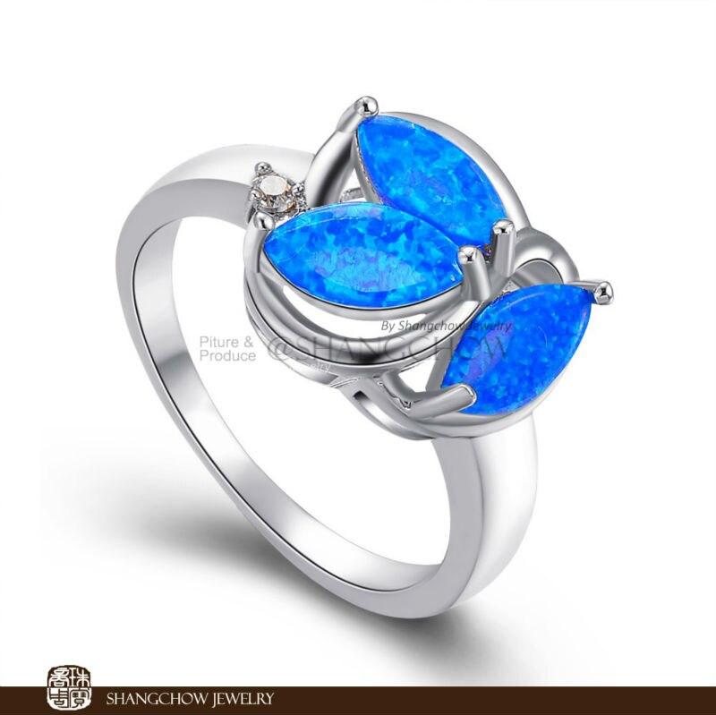 ¡Nuevo! Vintage en joyería de moda azul fuego ópalo 925 plata esterlina mujeres anillo RP0006