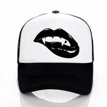 Fashion Sharp Monster Mouth Kiss Vampire Lips TEETH baseball cap summer mesh Adjustable sports hat