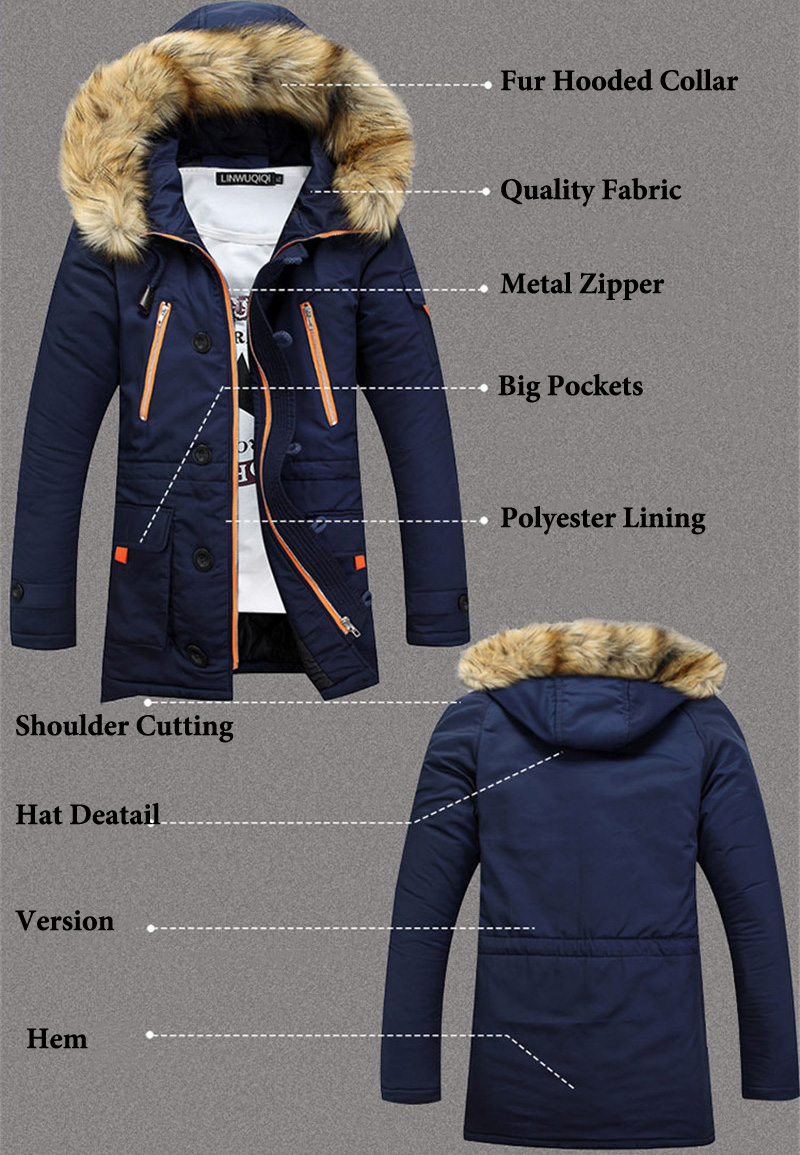 Casual Long Thickening Parka Men Winter Jacket Men Coats Male Outerwear Fur Collar Cotton Wadded Men Clothes 2019 Hooded Coat