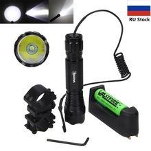 800lm Hunting Flashlight XML T6 LED Torch Light Portable Tactical Flashlight Camping Torch+Mount +Remote Switch+18650 Battery military weaver mount adjustable xml t6 tactical hunting torch remote switch 5000lm picatinny zoomable rechargeable flashlight