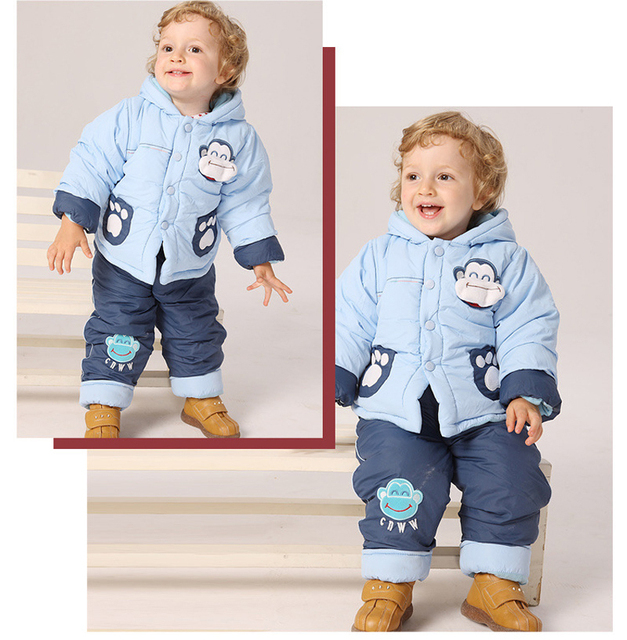 Baby clothes female  winter boys wadded jacket boy fur suit winter clothing set kids