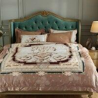 2017 New 4pcs cotton Bedding Set Bedclothes Bed Linen Europe Jacquard Duvet Cover King Queen Size Bedspread Cotton Sheet