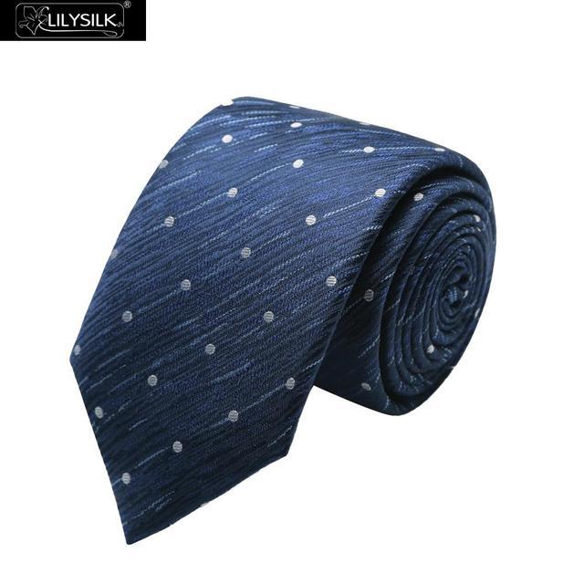 Lilysilk Homens Laço Gravata Sólida Oceano Azul Com Pontos Brancos Acessórios Do Casamento Pura Seda Chinesa Elegante Nova Marca de Negócio Masculino