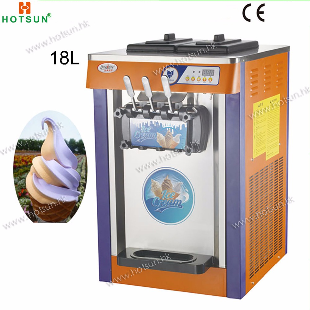 18L Commercial Countertop 220V Electric 3 Flavor Frozen Yogurt Soft Ice Cream Maker Machine
