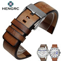 HENGRC Retro Genuine Cowhide Leather Watch Band Strap Men Brown 24mm Watchband Belt Steel Metal Buckle For Panerai Accessories