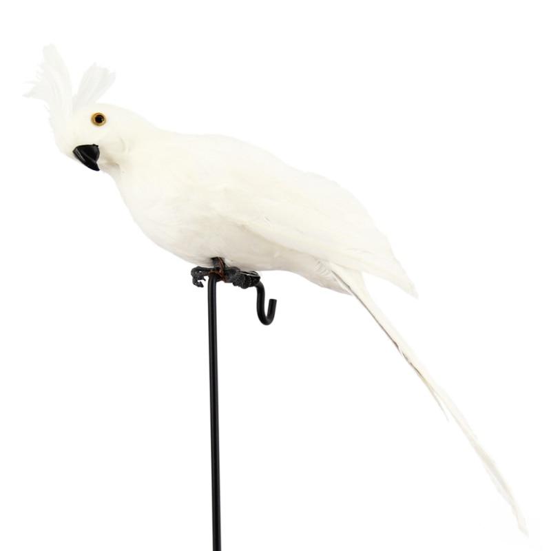 Ручной работы моделирование попугай сад Декор Творческий перо газон пена фигурка орнамент животное птица забор птица реквизит украшения - Цвет: Белый