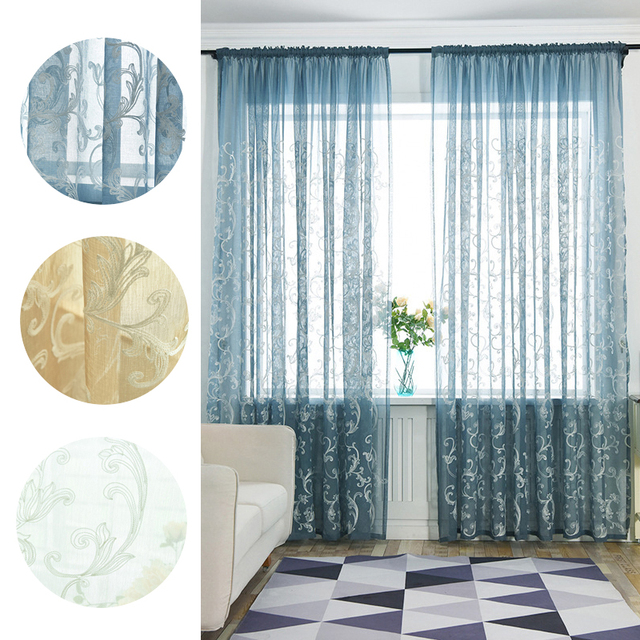 decorative window treatments metal vintage romantic style crochet printing pattern perspective window screens tulle home decorative curtains 266530