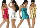 Venda limitada freeshipping bainha vestidos de festa mulheres dress imitação sexy clube lantejoulas mini elastic peito envolto minissaia