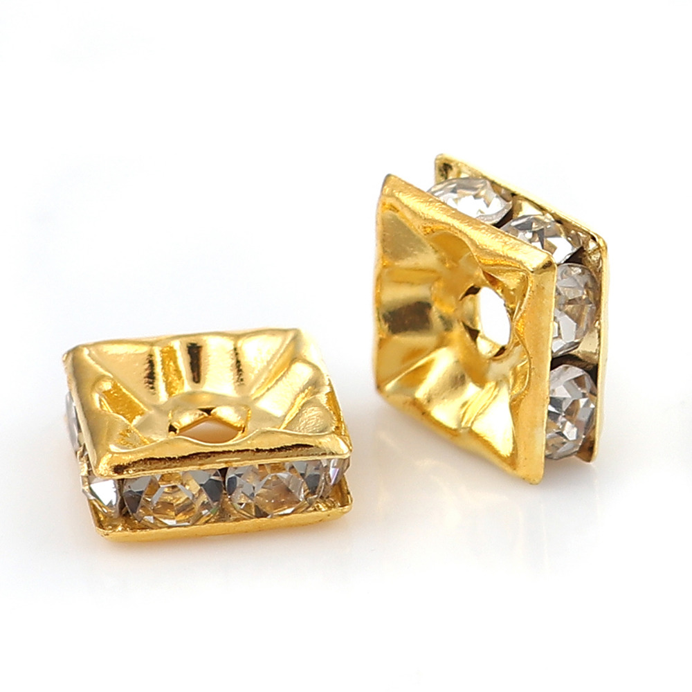 3/8 X 8mm 3/8 Hole: Approx 1.7mm Systematic Doreenbeads Copper Spacer Beads Square Gold Silver Clear Rhinestone About 8mm 50 Pcs Vivid And Great In Style