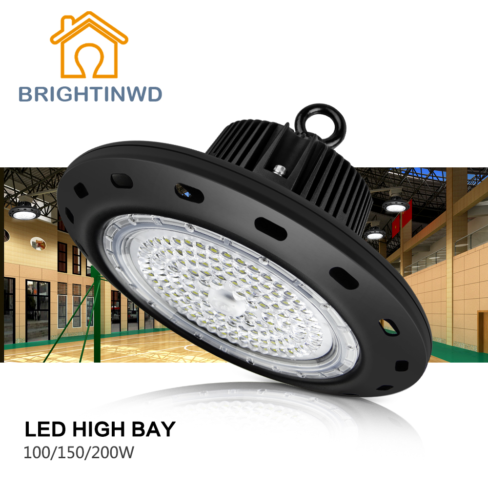IP65 110-265V UFO Industrial High Bay Light 100W 150W 200W LED Spotlight 2835 Mining Lamp brightinwd ufo high bay light 100w 150w 200w smd2835 high power led floodlight for factory warehouse machine lamp