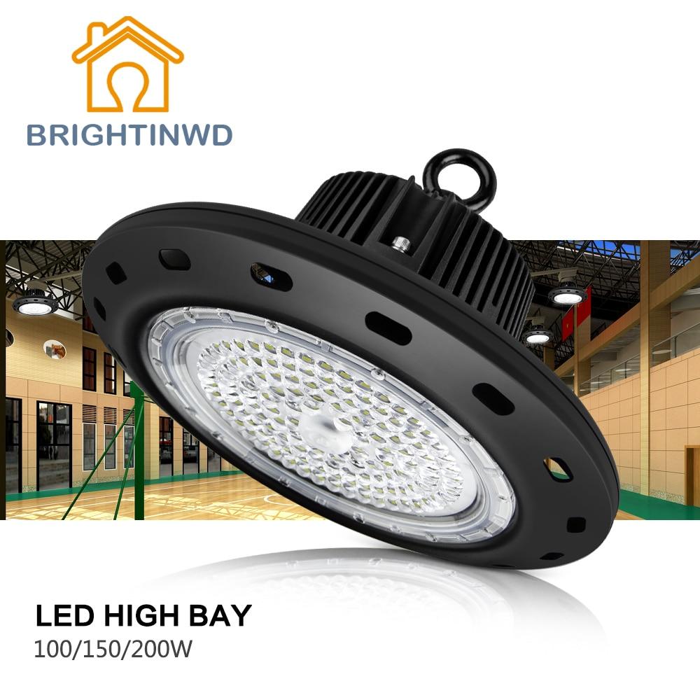 IP65 UFO工業用ハイベイライト100W 150W 200W LEDスポットライト2835工業用鉱山ランプ110-265V BRIGHTINWD