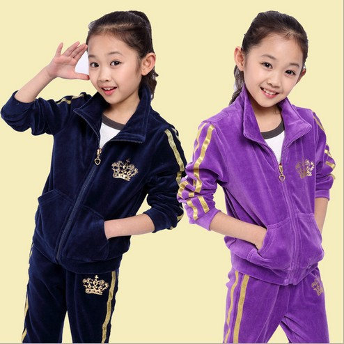Special Offer 2018 Spring Fall Girls Fashion Velvet Long-Sleeve Sports Set Female Kids Casual Sweater Suit Children Clothes G60 the lotus flower dream dew [] new spring and summer clothes in the morning suit sleeve sleeved taiji new special offer