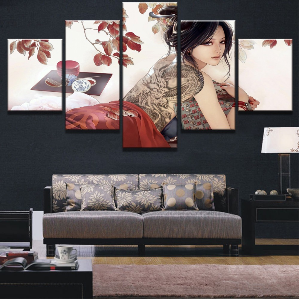 5 Panel Canvas Art Girl With Dragon Tattoo Cuadros Decoracion Paintings on Canvas Wall Art for Home Decorations Wall Decor in Painting Calligraphy from Home Garden