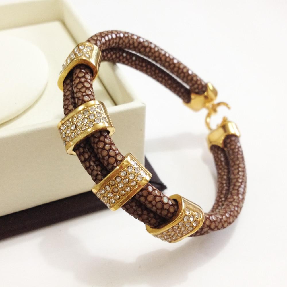 Nouveauté Bracelet en cuir Stingray marron véritable 5mm bracelet en cristal stingray pour hommes et femmes - 4