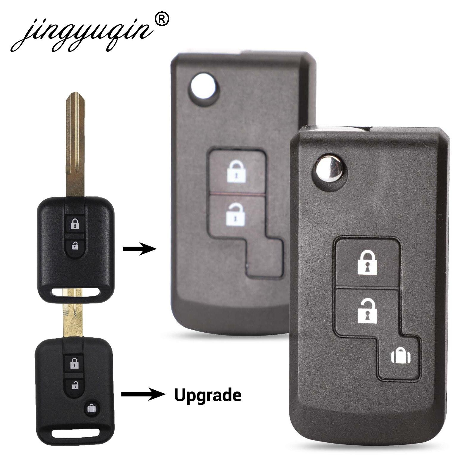 Jingyuqin 2/3 Button Modified Flip Car Remote Key Shell Case For Nissan Qashqai Primera Micra Navara Almera Note Sunny New Style