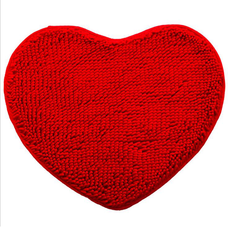 1pcs Red Heart Shaped Bath Mats Chenille Pad Eco-Friendly Anti-Slip Lovely Living Room Beddroom Home Floor Mat Bathroom Products
