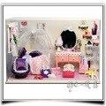 T007 rosa fantasia princesa quarto casa de bonecas de madeira casa de bonecas em miniatura quarto conduziu a luz frete grátis