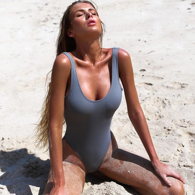 0844aa1a0cd32 Gray Green Pink 2018 Sexy One Pieces Swimwear For Women Thong Swimsuits  Triangle Bodysuit